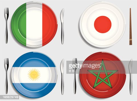 Fooditalyargentinajapanmorocco vector art getty images for Artistic argentinean cuisine