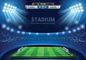 Vector Soccer Stadium Score Board Empty Field Background Nocturnal View EPS 10 JPG JPEG