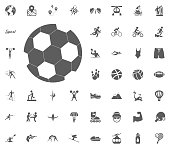 Football ball icon. Sport illustration vector set icons. Set of 48 sport icons