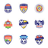 The pack of football club symbol icons is encompassing creative colorful icons regarding soccer club, soccer symbol, football tournament, london football, USA soccer, soccer academy badge, soccer leag
