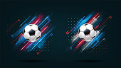 Football cup 2018, soccer championship illustration set. Dynamic neon glowing lines isolated on black background. Realistic 3d ball. Holographic element for design cards, invitations, flyers,brochures