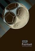 Vintage soccer football on dynamic background template layout artwork in negative black color scheme