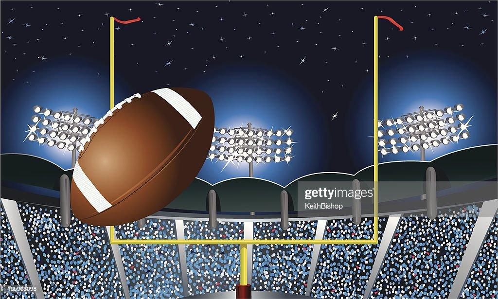 football field goal under stadium lights background vector
