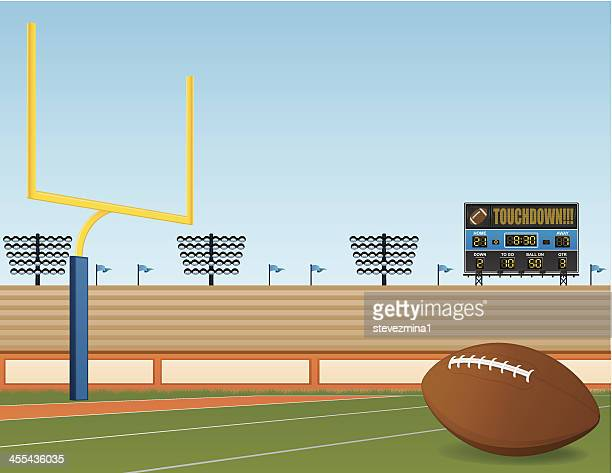A football field with a touchdown screen