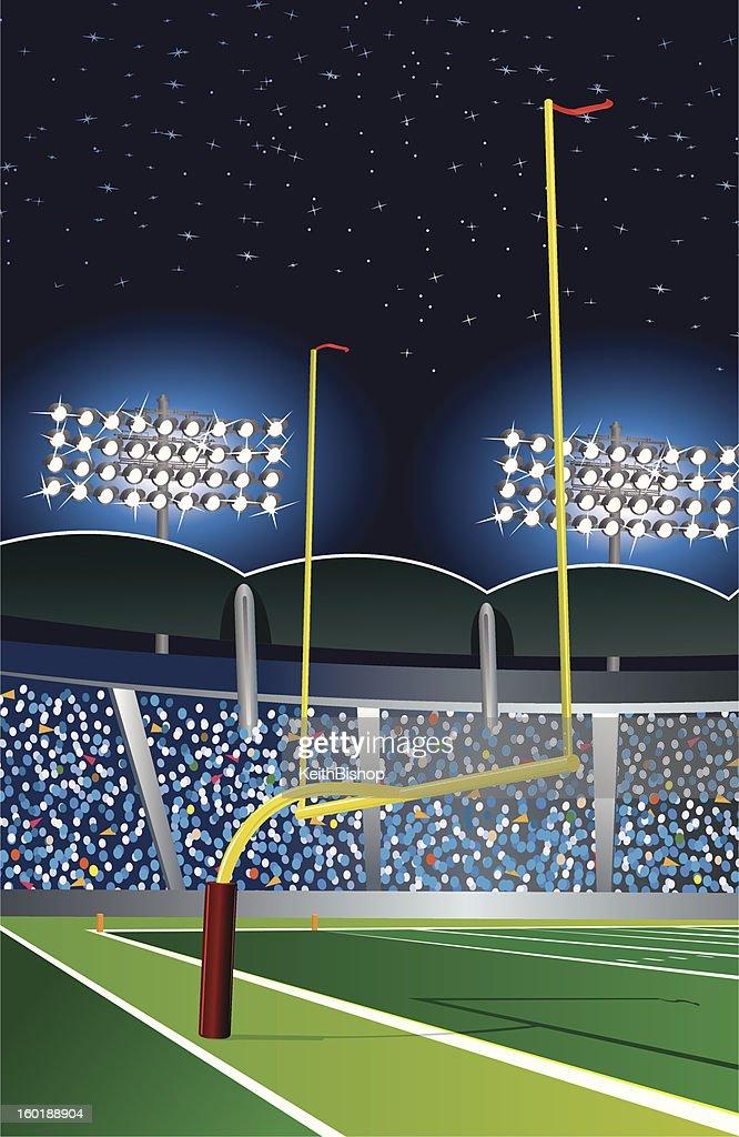 Football Goal Post Under Stadium Lights at Night : Vector Art