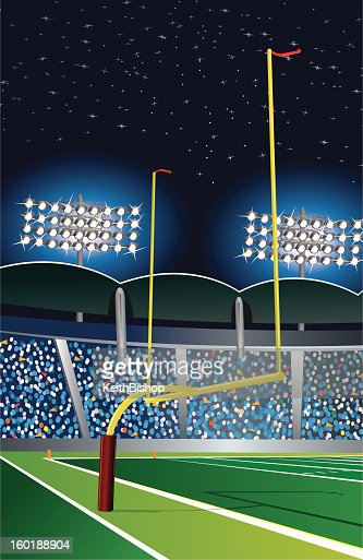 フットボールスタジアム後の目標の夜景 : ベクトルアート