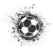 White grunge and dots football with ink blots and splashes
