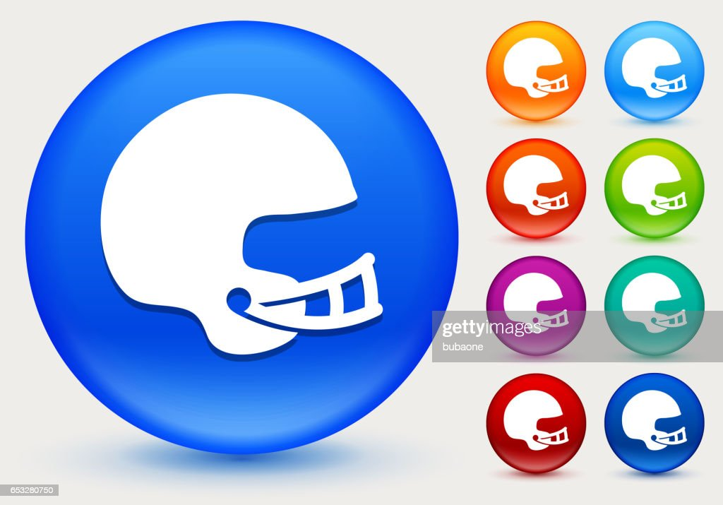 Football Helmet Icon on Shiny Color Circle Buttons : Vektorgrafik