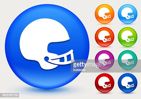Football Helmet Icon on Shiny Color Circle Buttons : Vector Art
