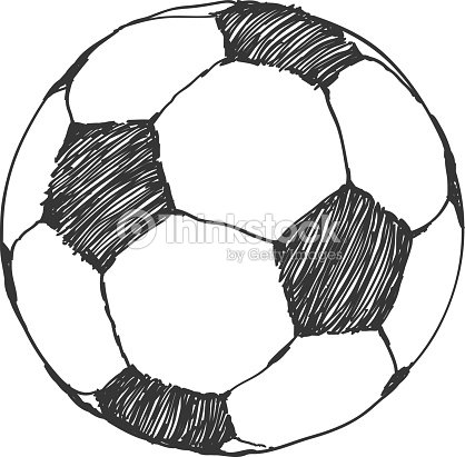 football icon sketch soccer ball handdrawn in doodles style vector