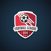 Football league logo, labels, emblems and design elements for sport team 2016. Vector illustration.