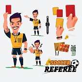 Football or Soccer Referee with card and graphic elments. character design - vector illustration