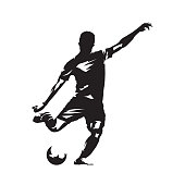 Football player kicking ball, abstract vector drawing. Soccer athlete. Isolated silhouette, side view