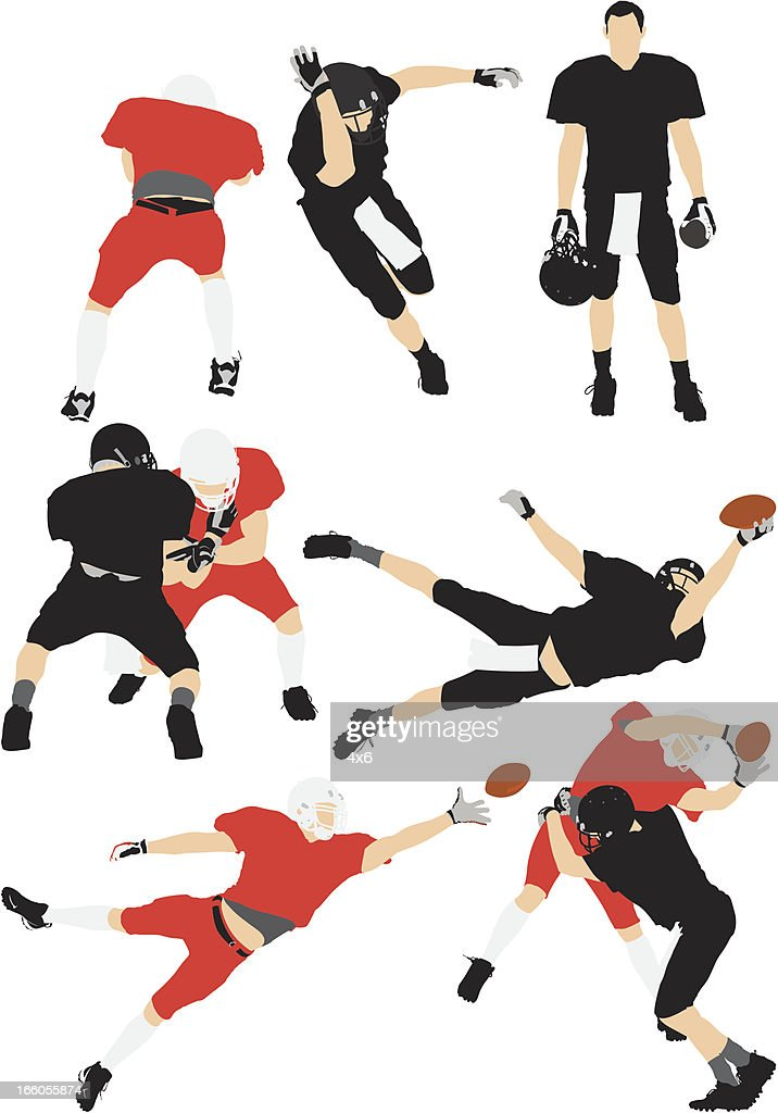 Football players in action : Vector Art