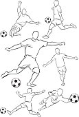 Stylized silhouette line drawing illustrations of men playing football. One of a series.