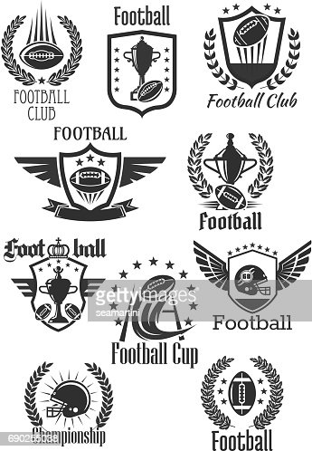 Football rugby vector symbols for championship cup : stock vector
