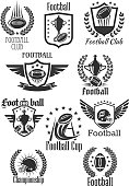 Rugby football club icons set for tournament or championship cup. Badges of fire rugby ball with wings and player safety helmet mask. Vector champion winner ribbon and goblet prize with crown of stars