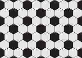 Black and white soccer ball pattern background. Vector illustration.