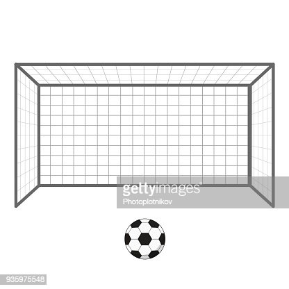 Football Soccer Goal And Ball Gates Goalie Isolated On