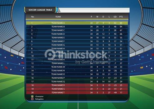 Football Soccer League Table : stock vector
