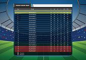 Football Soccer league table on Soccer stadium football cheer fans background. Infographic. Vector illustration.