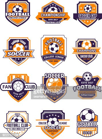 Football sport badge with soccer ball on shield : Vector Art
