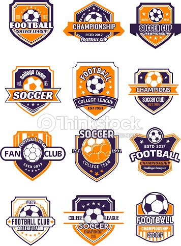 Football sport badge with soccer ball on shield : stock vector