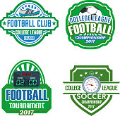Football sport club and soccer championship tournament badge set. Soccer ball, football boots, goal score board and referee stopwatch on shield isolated vector symbol with ribbon banner and star