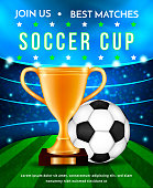 Football soccer cup,vector illustration concept.Golden sport championship trophy and soccer ball on green stadium arena background with spotlights,flashes and flares