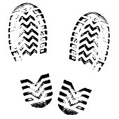 Footprint, silhouette vector. Shoe soles print. Foot print tread, boots, sneakers. Impression icon