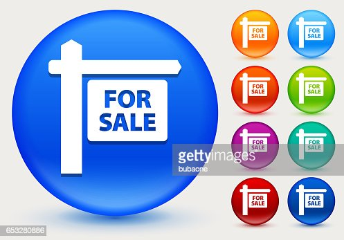 For Sale Sign Icon on Shiny Color Circle Buttons : Vectorkunst
