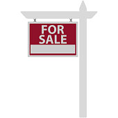 Red and white sign hanging from white picket fence post with for sale text