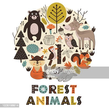 forest animals in circle Scandinavian style : stock vector