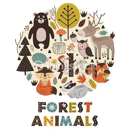 北欧スタイルの円で森の動物 : ベクトルアート