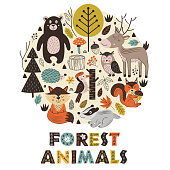 forest animals in circle Scandinavian style -  vector illustration, eps