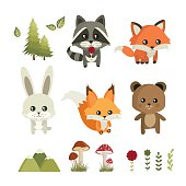 Forest animals. Raccoon, fox, rabbit, squirrel and bear. Cute characters. Vector set