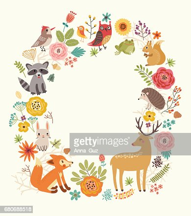 Forest background with animals : Arte vettoriale