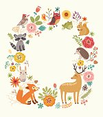 Forest background frame with animals
