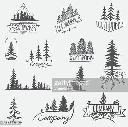 Vector de árbol insignia bosque conjunto aislado : Arte vectorial
