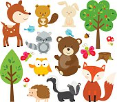 Cute Forest Critters: A Deer, beaver, bunny, raccoon, bird, owl, bear, butterfly, hedgehog, porcupine, fox, skunk, trees, mushroom and acorn
