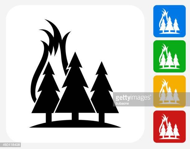 Incendio forestal iconos planos de diseño gráfico