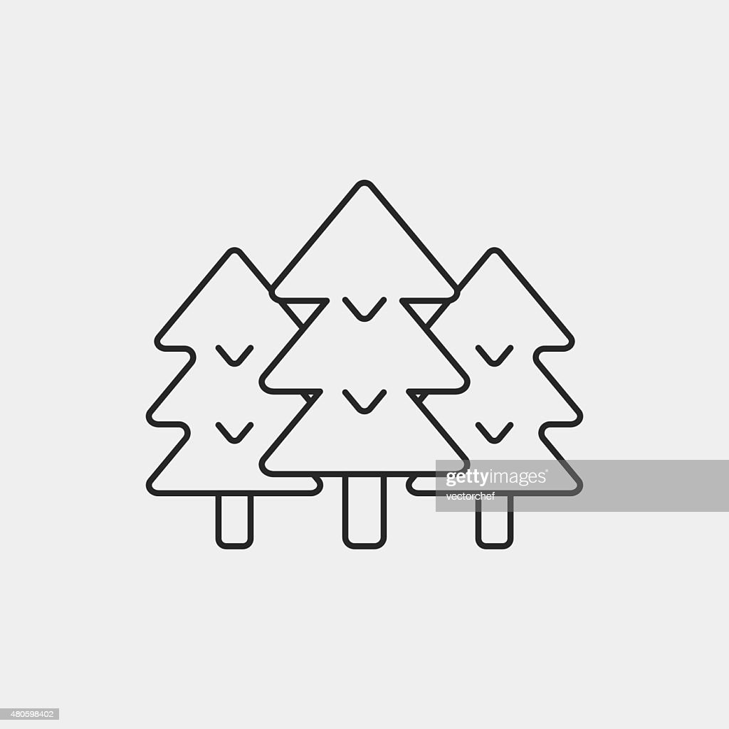 forest line icon : Vector Art