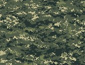 Vector illustration of dark green pixels camouflage military texture for the forest