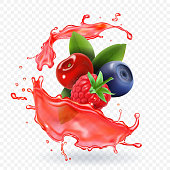 Forest Mixed berries juice Splash. 3d realistic vector.