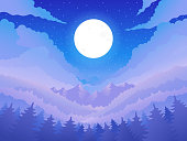 Night landscape. Forest, mountains and full moon. Vector illustration