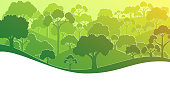 Green forest silhouette in flat style. Vector illustration