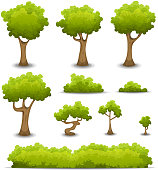 Vector illustration of a set of cartoon spring or summer forest trees and other green forest elements, bonsai, foliage, bush and hedges. File is EPS10 and uses multiply transparency on shadows and ove