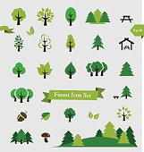 Forest / Trees icon set vector illustration