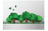 forest with trees and grass. paper art style