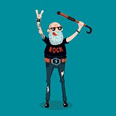 Cartoon illustration with senior man. Old rock fan. Cartoon style.